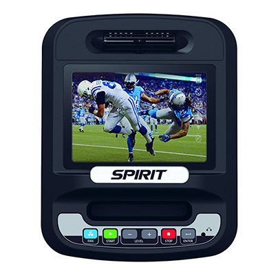 Spirit Fitness CE800 elliptical monitor with blue backlit LCD screen and control buttons.