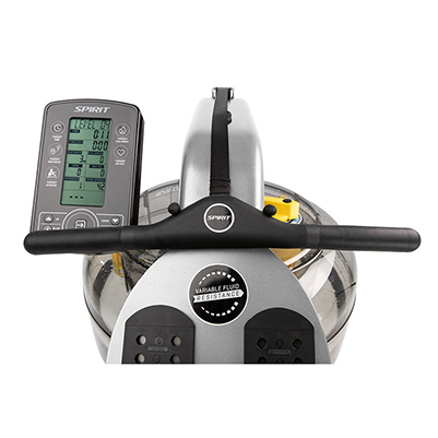 Spirit Fitness CRW900 Water Rower in folded position.