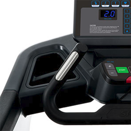 Spirit Fitness CT850 Treadmill bar showing hand grips for pulse reading.