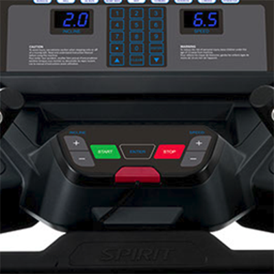 Spirit Fitness CT900 ENT Treadmill Console showing close up of covenient access to speed and incline control buttons.
