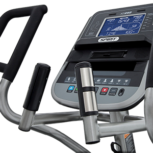 Spirit Fitness XE295 handlebars showing handpulse grips for heart rate monitoring.