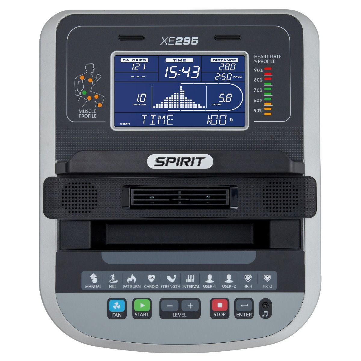 Spirit Fitness XE295 Elliptical Console showing blue LCD screen, red, green, and yellow indicator lights, and control buttons.