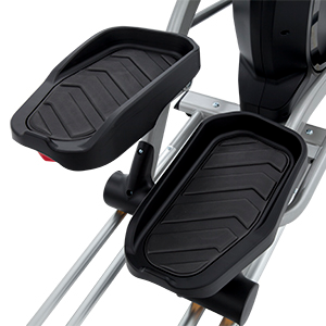 View from above of Spirit Fitness XE295 elliptical trainer showing oversized pedal beds.