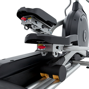 View from back of Spirit Fitness XE295 Elliptical Trainer pedal showing pedal incline adjustment and dual aluminum rails.