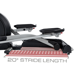 View from left side of Spirit Fitness XE395 Elliptical Trainer with a graphic showing the stride length.
