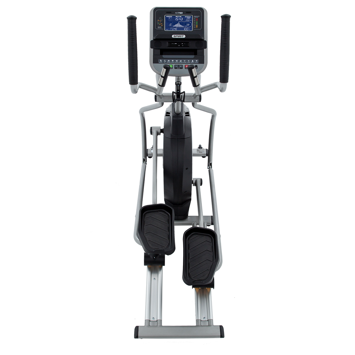 Full view from the back of the Spirit Fitness XE795 elliptical showing pedals, articulating and stationary handgrips, and full monitor console.