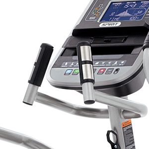 Close up of stationary bars with hand pulse grips on the Spirit Fitness XE795 elliptical.