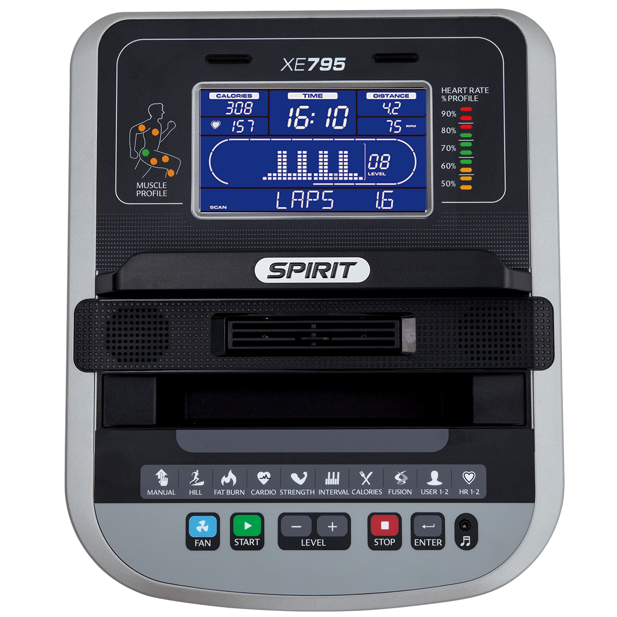 Spirit Fitness XE795 elliptical monitor showing blue LCD screen and control buttons.