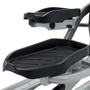 View from back/right side of Spirit Fitness XE795 elliptical trainer showing oversized pedal beds.