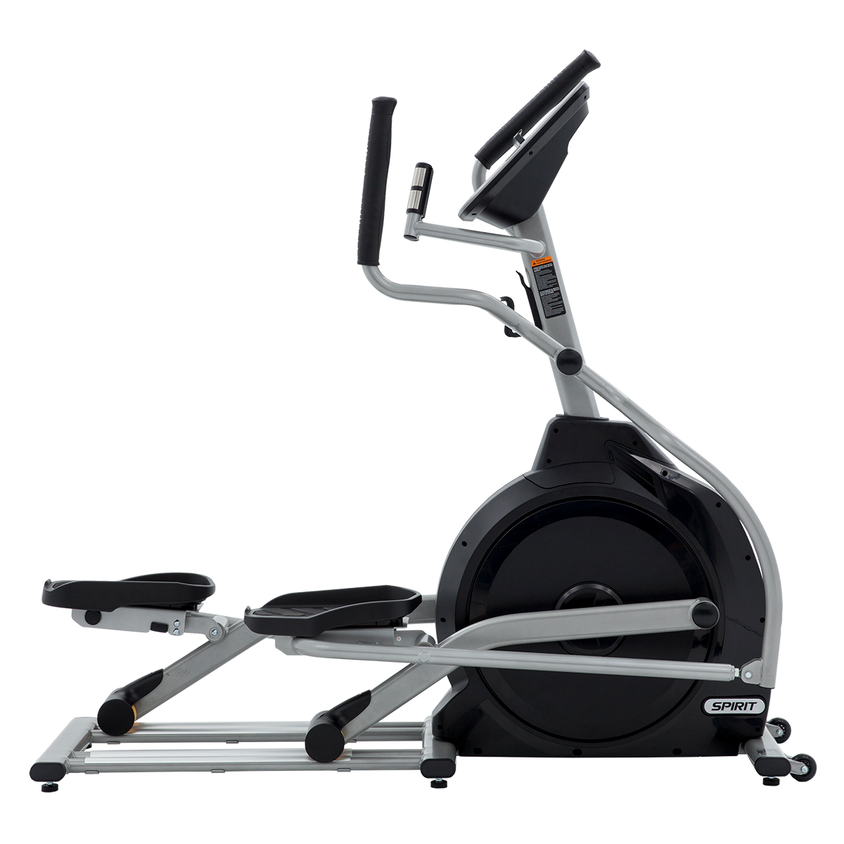 View from the side of the Spirit Fitness XE795 elliptical trainer.