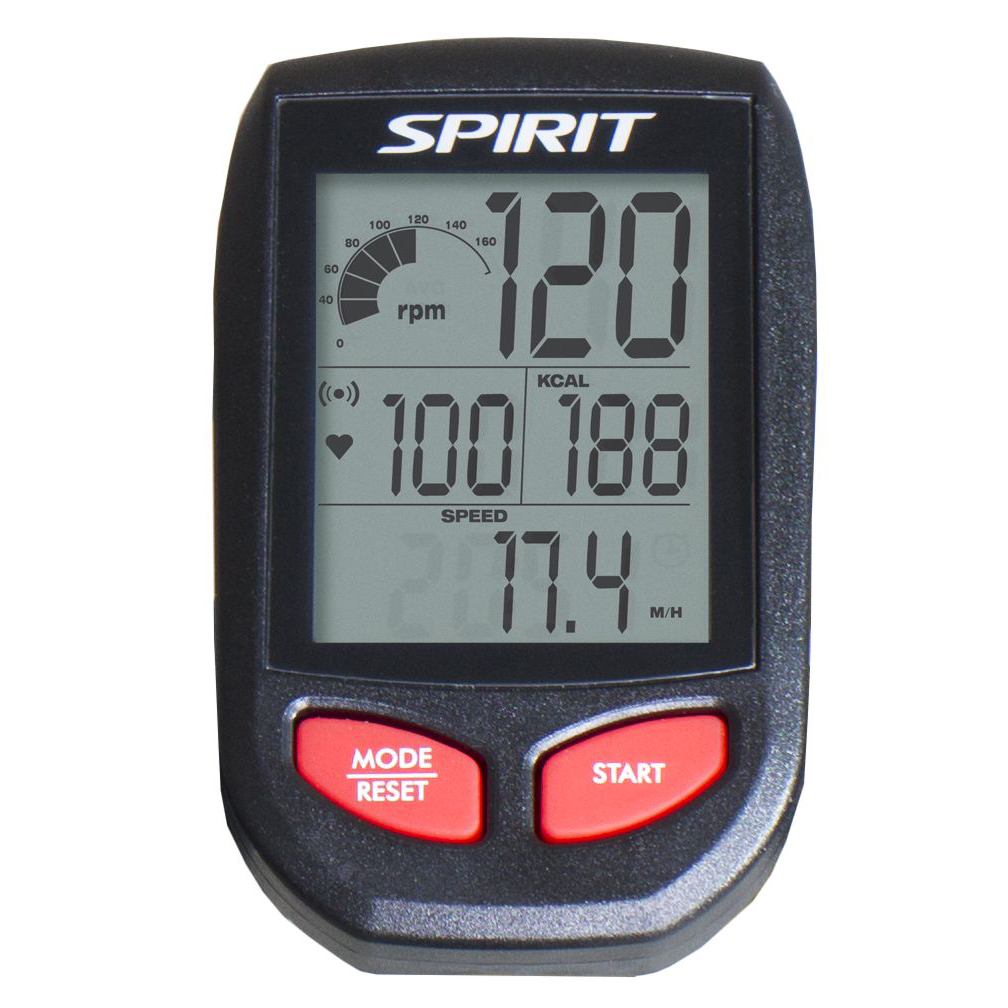 Spirit Fitness XIC600 Indoor Bike monitor with large LCD readout and control buttons.