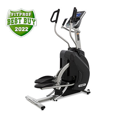 View from front/right side of Spirit Fitness XS895 HIIT Trainer showing back of handlebars and monitor.
