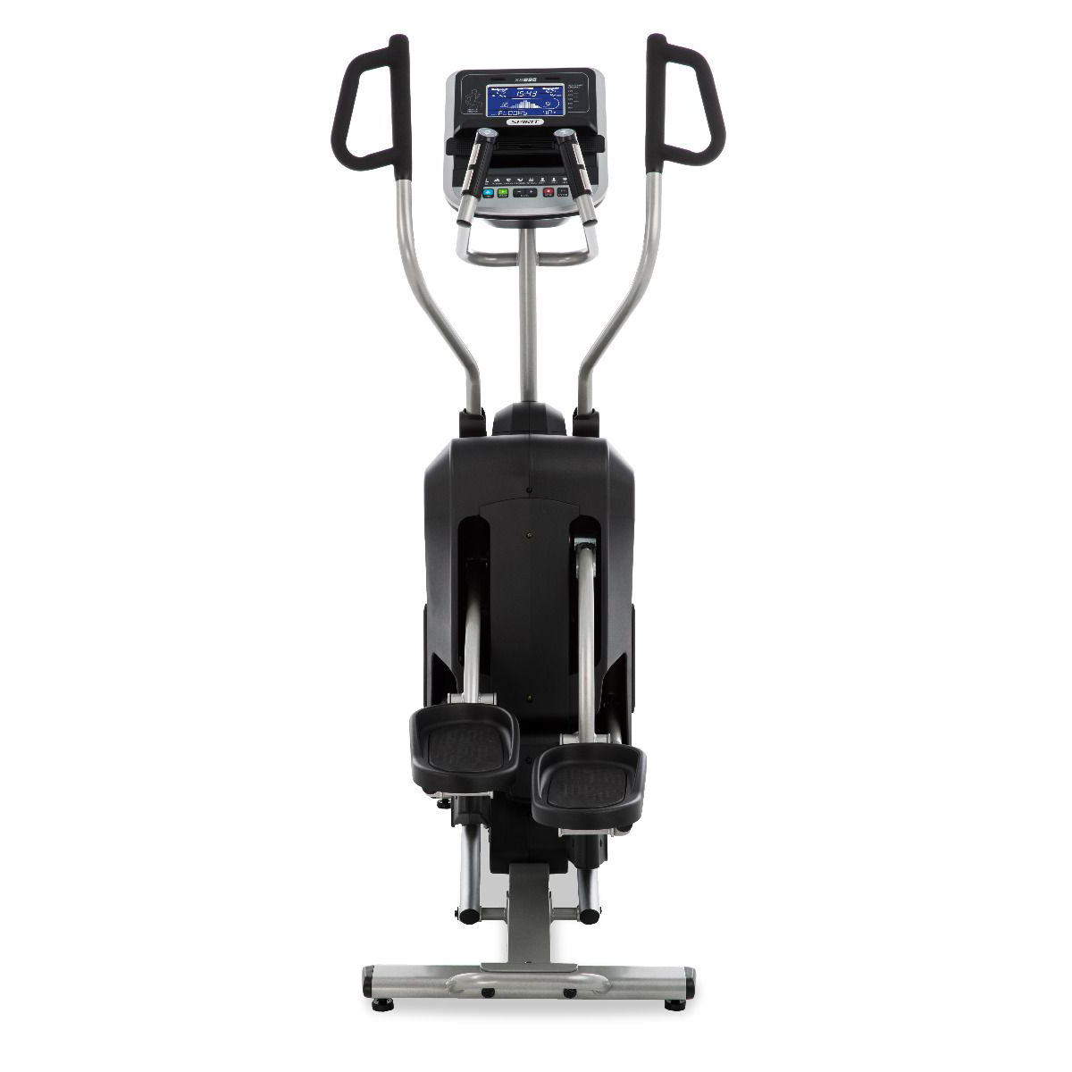 View from back/right of Spirit Fitness XE795 HIIT Trainer Trainer featuring a female model exercising while wearing a black sports bra and black shorts.