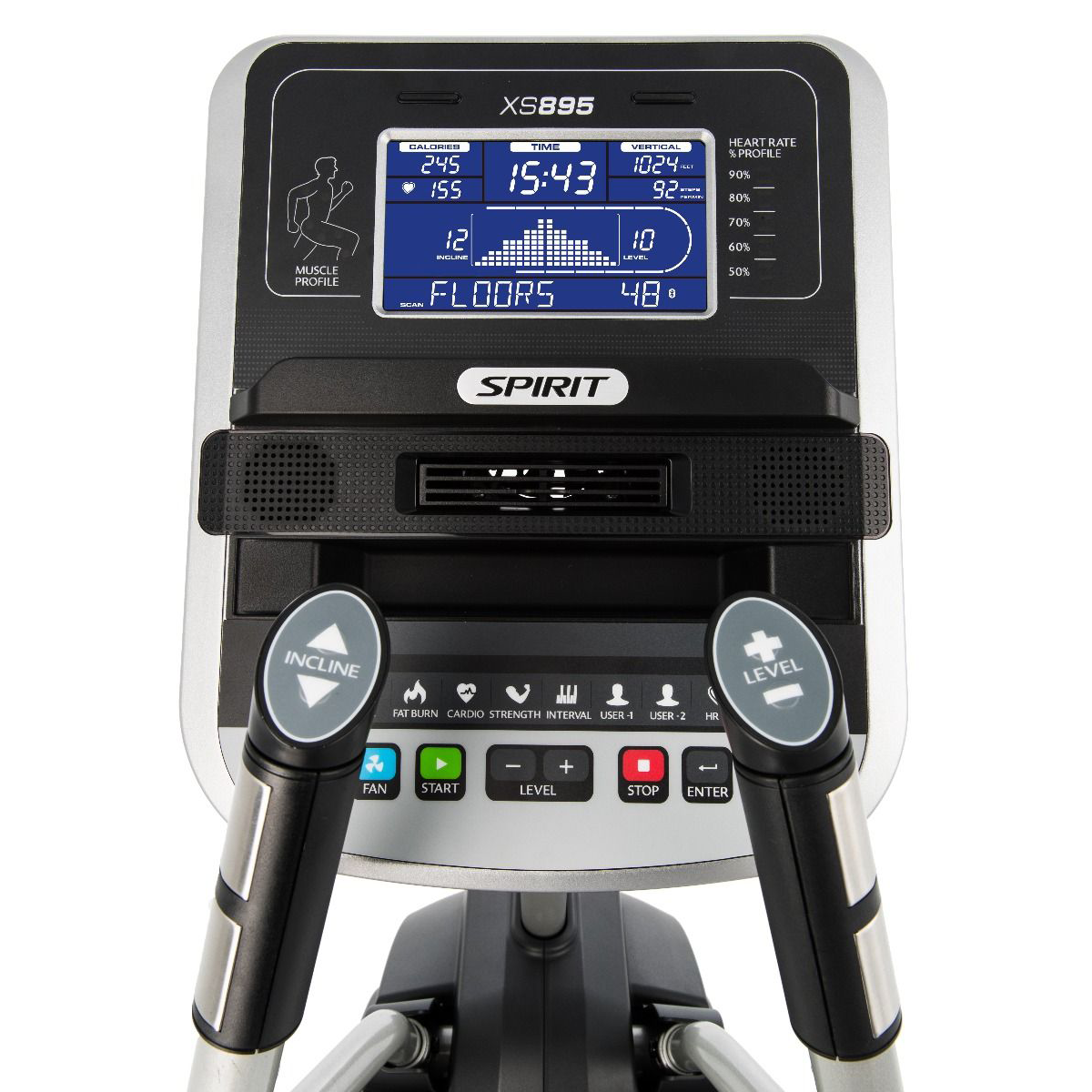 Spirit Fitness XS895 HIIT Trainer monitor with blue backlit LCD screen and control buttons.