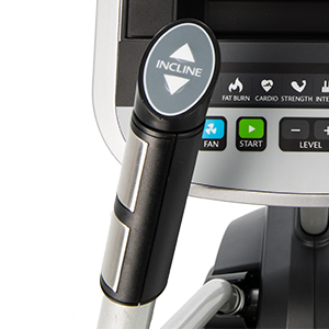 Close-up view of left handlebar of Spirit Fitness XS895 HIIT Trainer showing stainless steel handpulse grips and quick incline control.