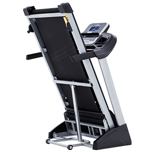 Spirit Fitness XT185 Treadmill side view of deck in folded position