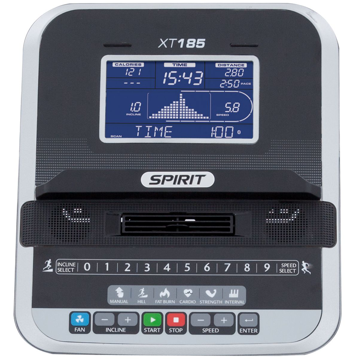 Spirit Fitness XT185 Treadmill Monitor showing blue LCD screen and control buttons.