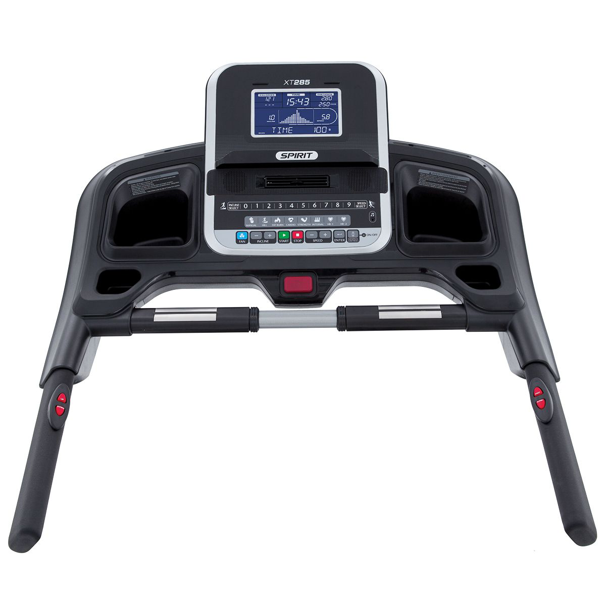 Spirit Fitness XT285 Treadmill Monitor showing blue LCD screen and control buttons.