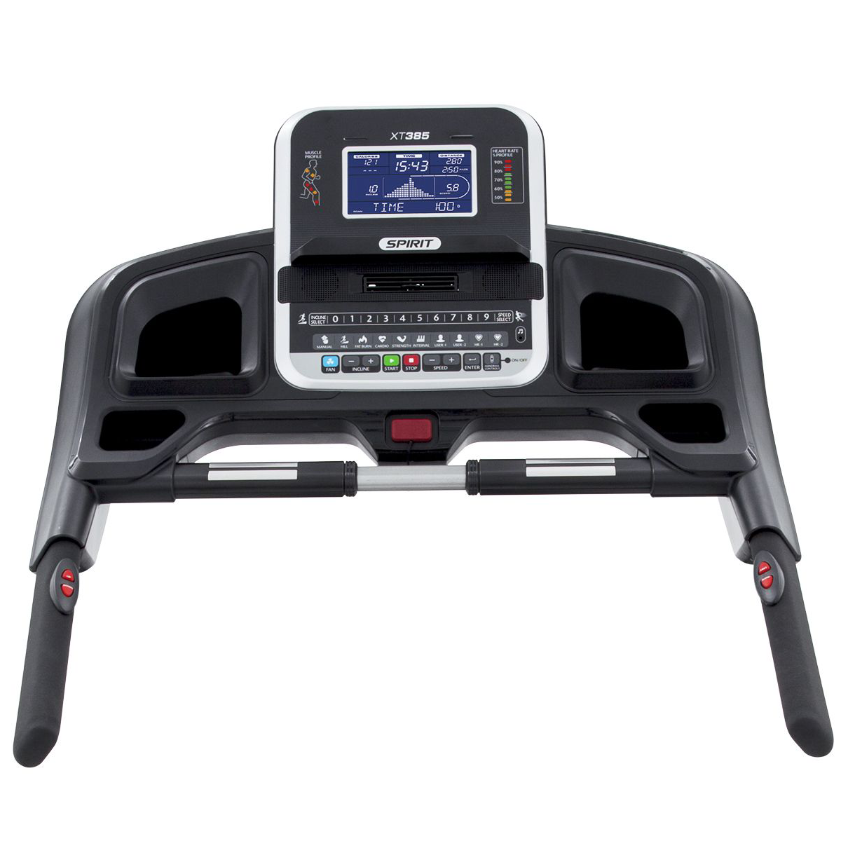 Spirit Fitness XT385 treadmill console showing monitor, cupholders, hand pulse grips, and handlebars