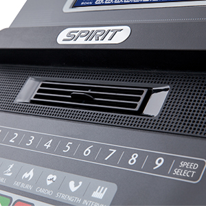 Spirit Fitness XT385 Treadmill Console showing close up of covenient access to speed and incline control buttons.