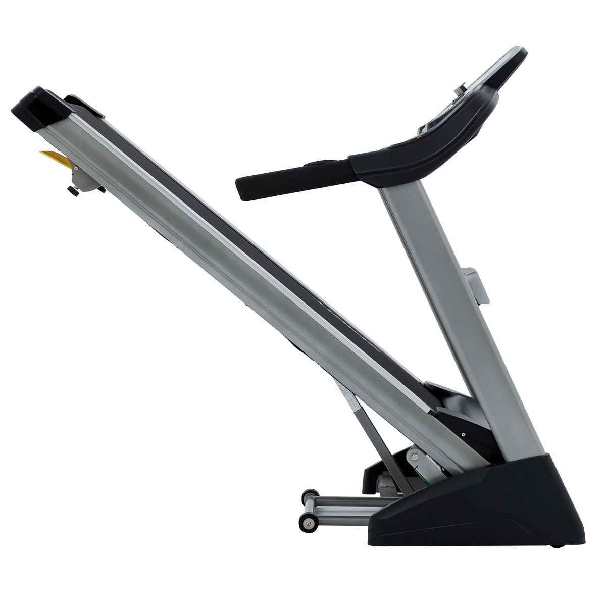Spirit Fitness XT385 Treadmill showing view of running belt/deck in folded position as well as heavy duty frame.
