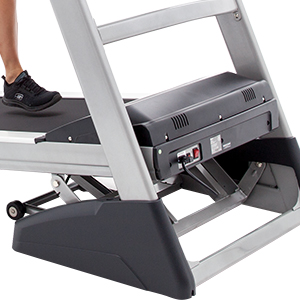 Spirit Fitness XT385 Treadmillshowing deck in inclined position.