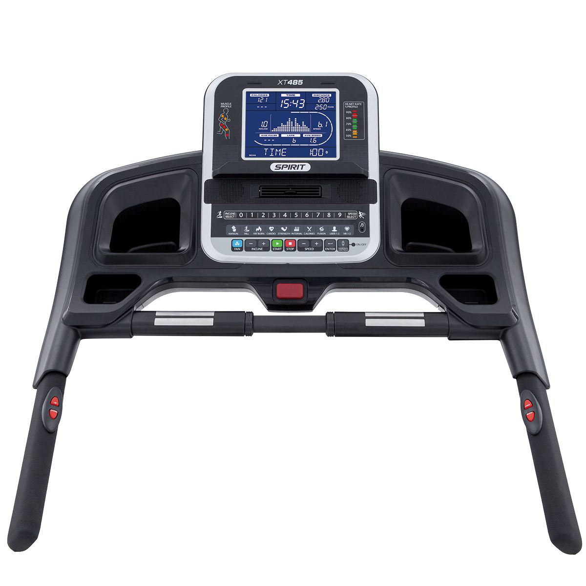 Spirit Fitness XT485 treadmill console showing monitor, cupholders, hand pulse grips, handlebars, and quick controls