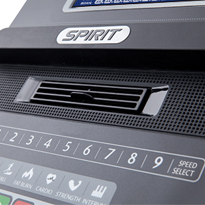 Spirit Fitness XT485 Treadmill Console showing close up of covenient access to speed and incline control buttons.