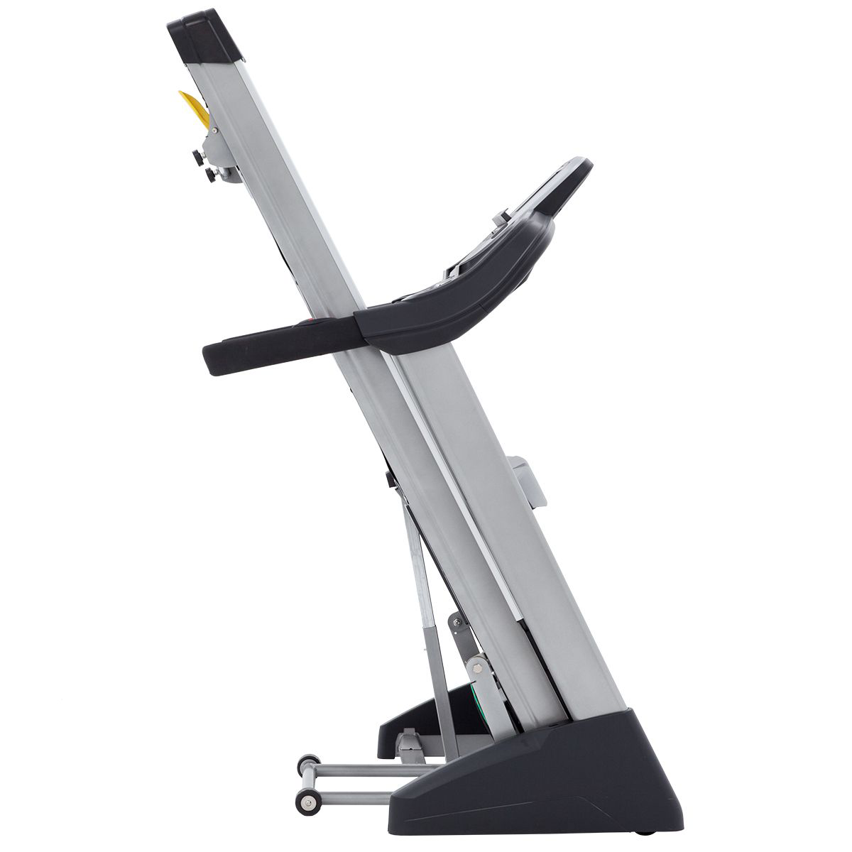 Side view of the Spirit Fitness XT485 treadmill in folded position.