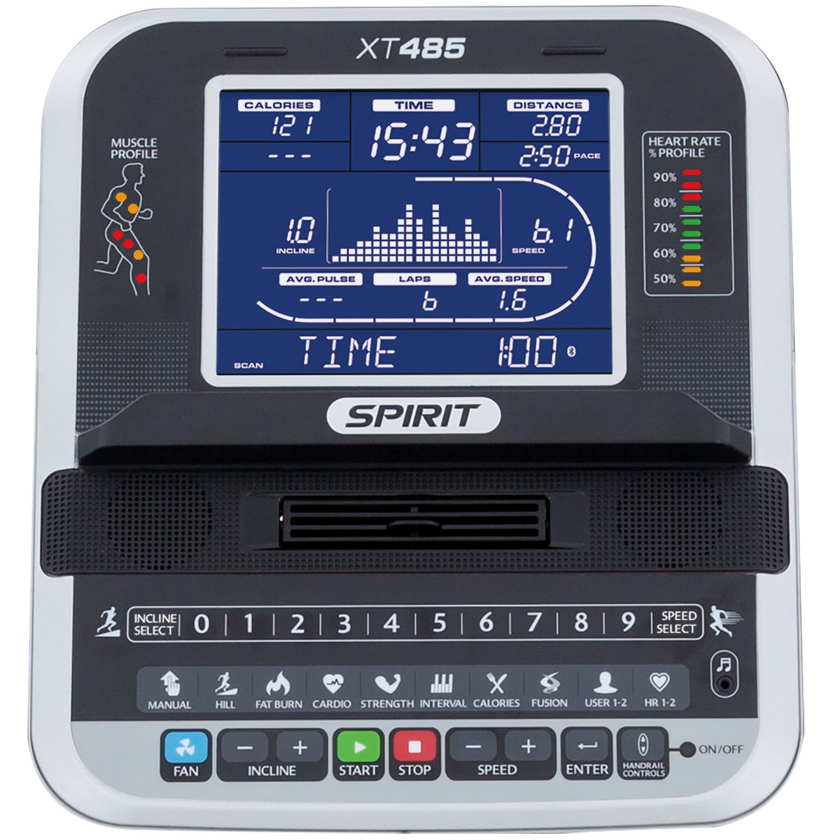 Spirit Fitness XT485 treadmill monitor with blue backlit LCD and multi-coloured indicator lights