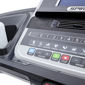 Spirit Fitness XT685 Treadmill Console showing close up of covenient access to speed and incline control buttons.