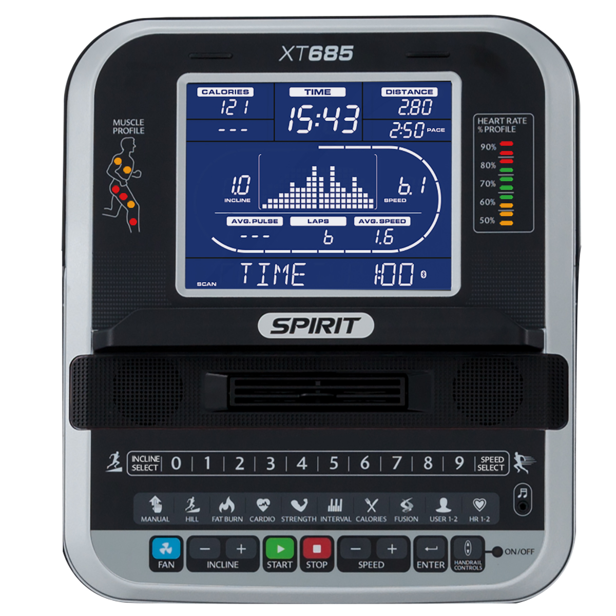 Spirit Fitness XT685 treadmill monitor with blue backlit LCD and multi-coloured indicator lights