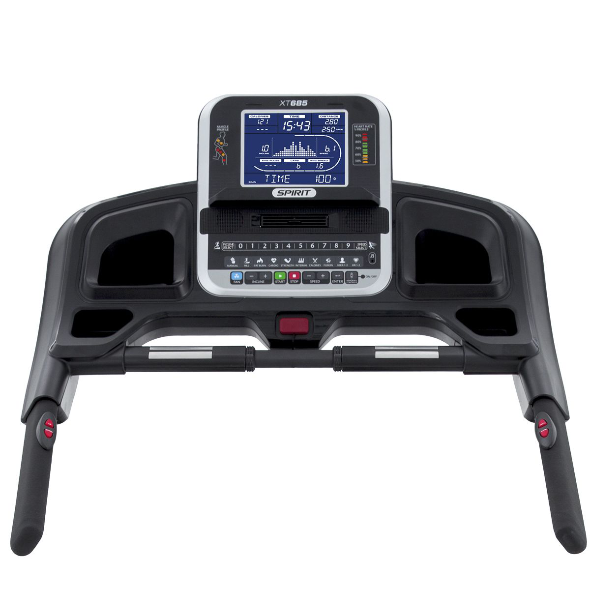 Spirit Fitness XT685 treadmill console showing monitor, cupholders, hand pulse grips, handlebars, and quick controls