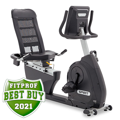 View from the front and to the right of Spirit Fitness XBR25 recumbent Bike displayed on transparent background