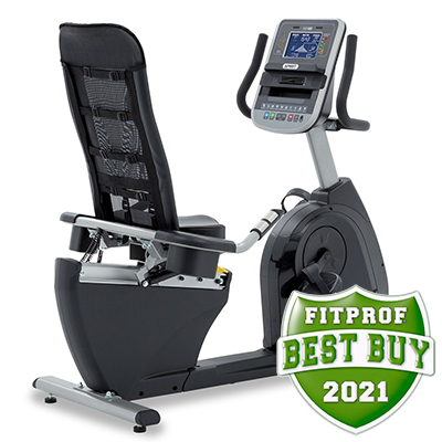 View from the back and to the right of Spirit Fitness XBR95 recumbent Bike displayed on transparent background
