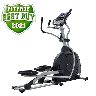 Side view of Spirit Fitness XE195 Elliptical displayed on transparent background