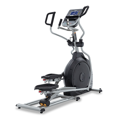Side view of Spirit Fitness XE295 Elliptical displayed on transparent background