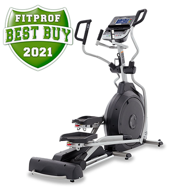 Side view of Spirit Fitness XE395 Elliptical displayed on transparent background