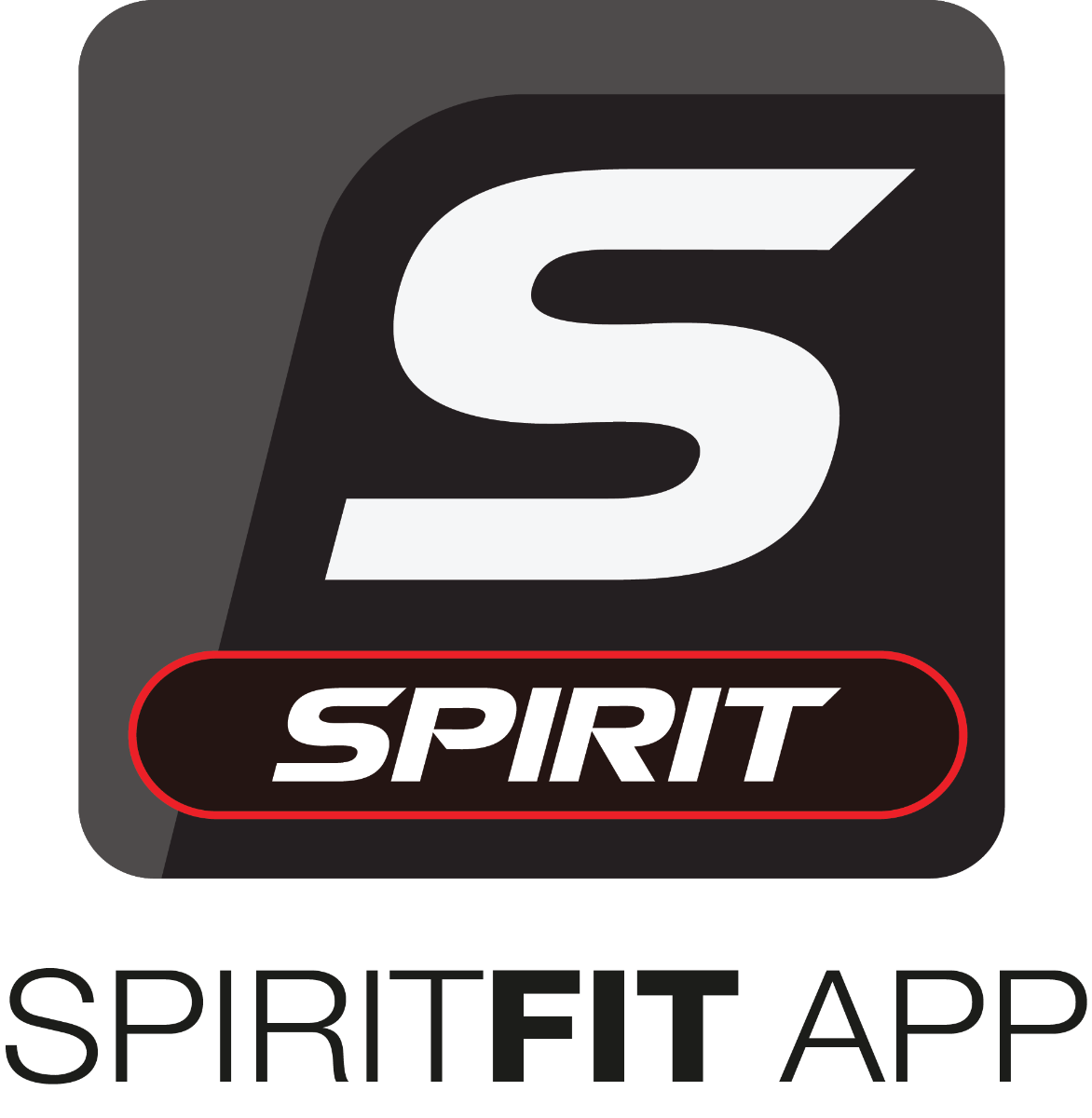 Spirit Fitness App icon with stylized S on black/grey background with the word Spirit circled in red on a black background below it.