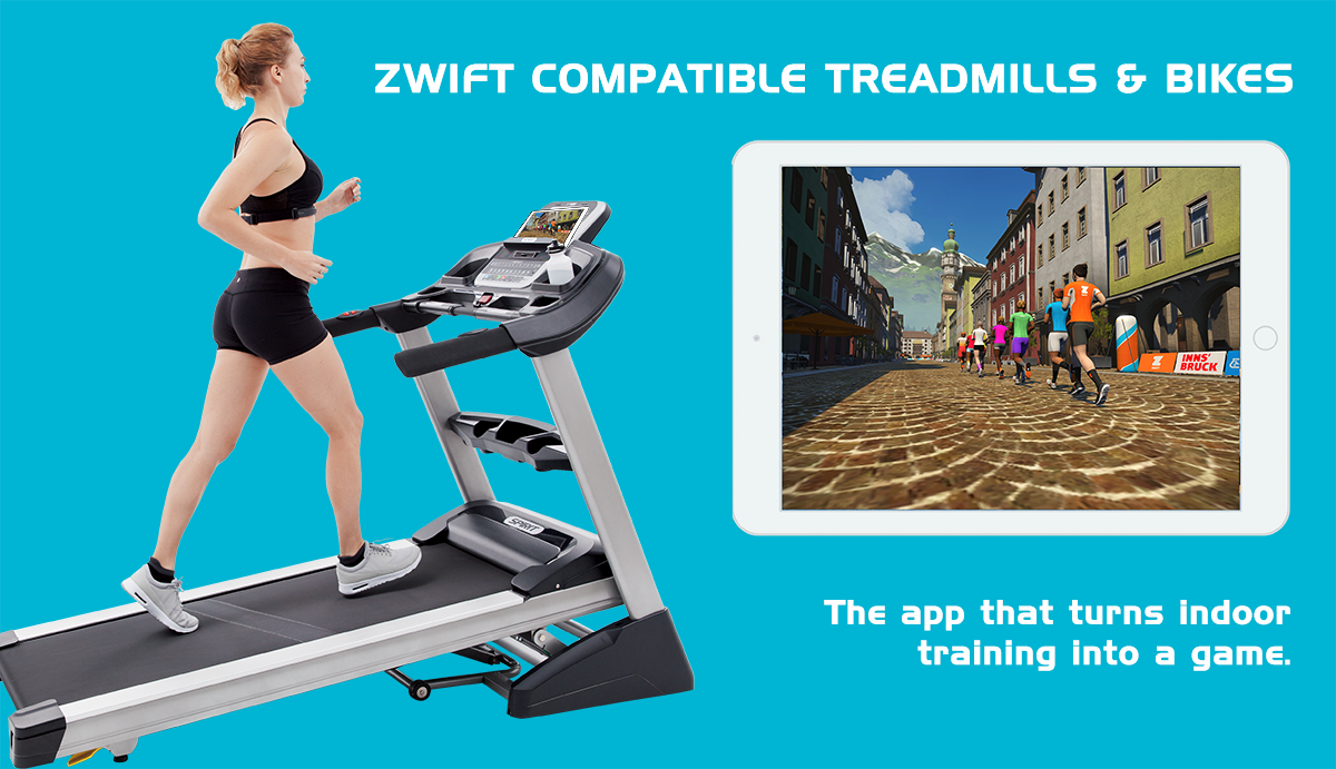 Graphic indicating some Spirit Fitness treadmills and bikes are compatible with Zwift.