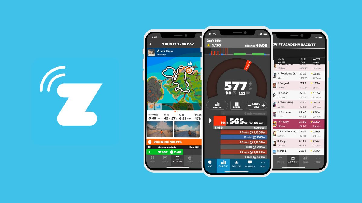 Graphic showing Zwift logo and phone with different Zwift readout options.